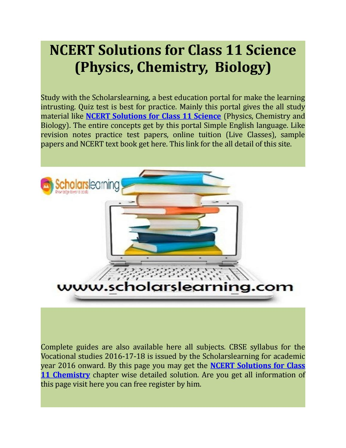 Ncert solutions for class 11 science (physics, chemistry