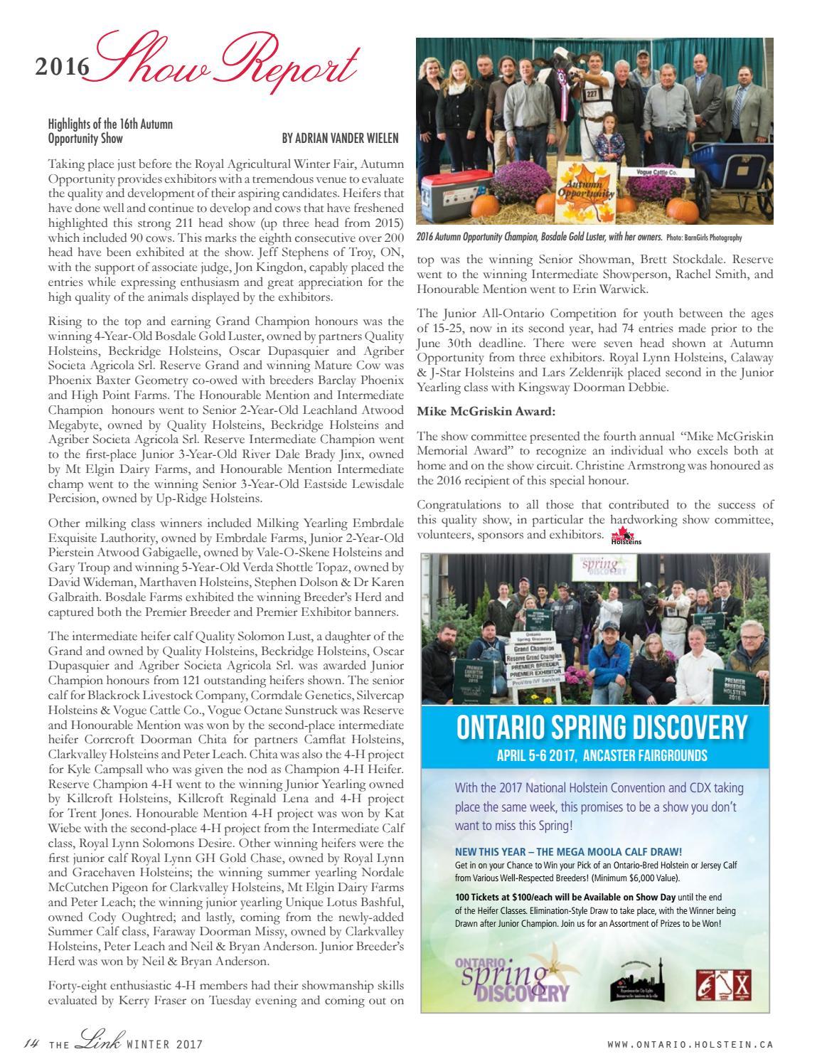 Link Winter 2017 by Ontario Holstein Branch - issuu