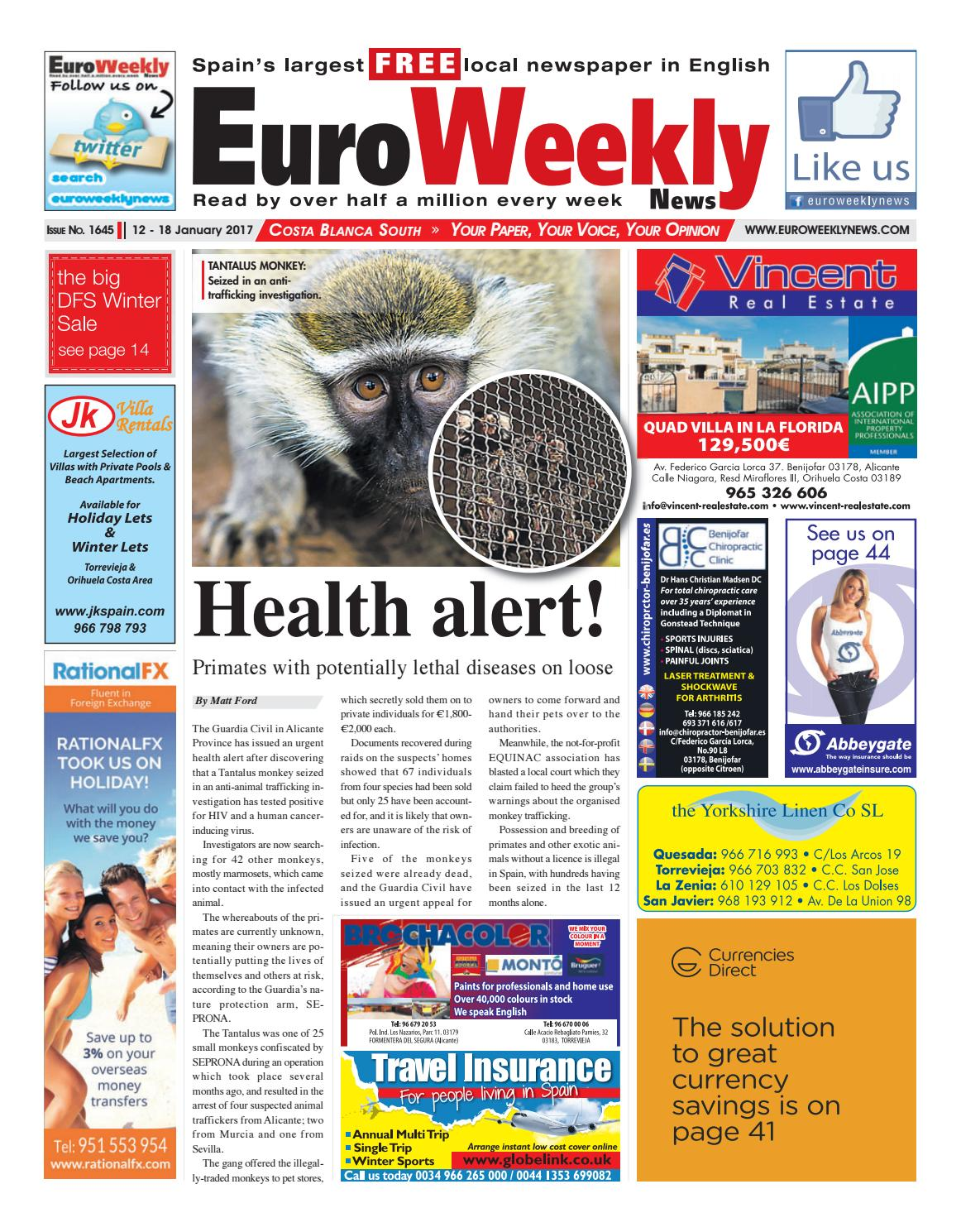 Euro weekly news costa blanca south 12 18 january 2017 issue euro weekly news costa blanca south 12 18 january 2017 issue 1645 by euro weekly news media sa issuu fandeluxe