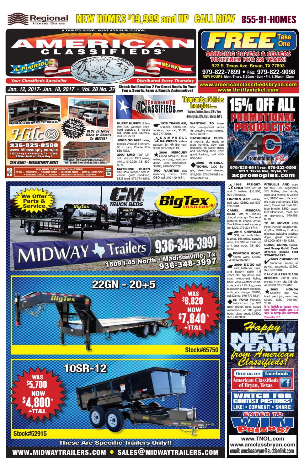 American Classifieds January 12th Edition Bryan/College