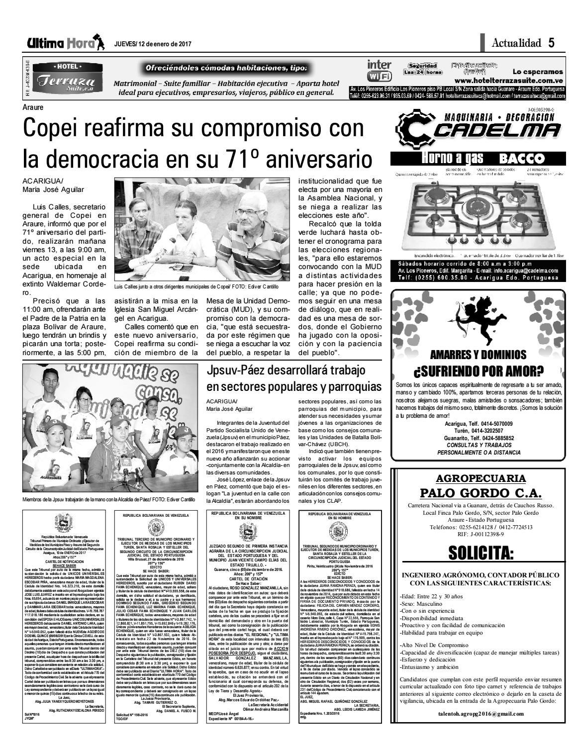 Edición 12 01 2017 by Ultima Hora - El primer diario de Portuguesa ...