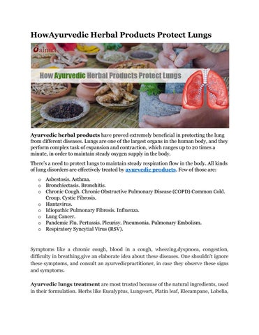 Ayurvedic herbal products for lungs treatment by Alan Smith - issuu
