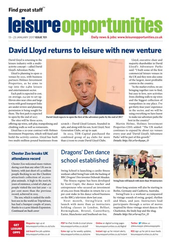 Leisure Opportunities 13th January 2017 Issue 701 By Leisure Media