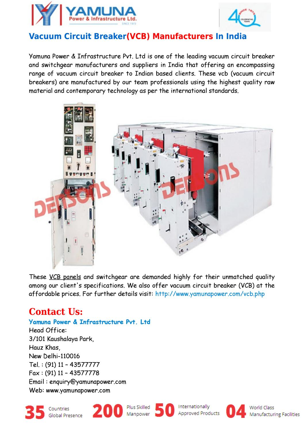 Vacuum Circuit Breakervcb Manufacturers In India By Yamuna Power Electrical Panels 101 Infrastructure Pvt Ltd Issuu