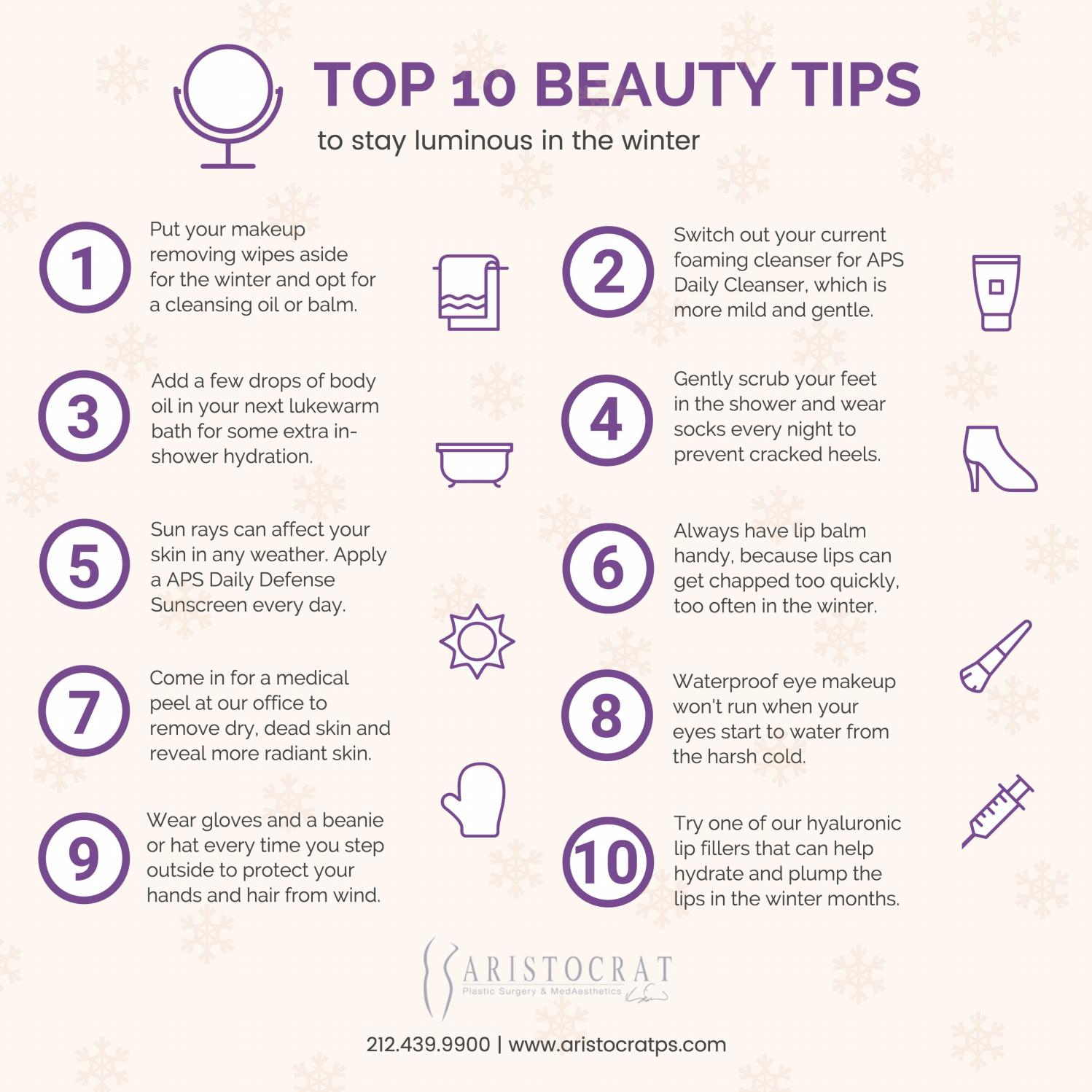 Top 12 beauty tips to stay luminous in the winter by Amelia Kelly
