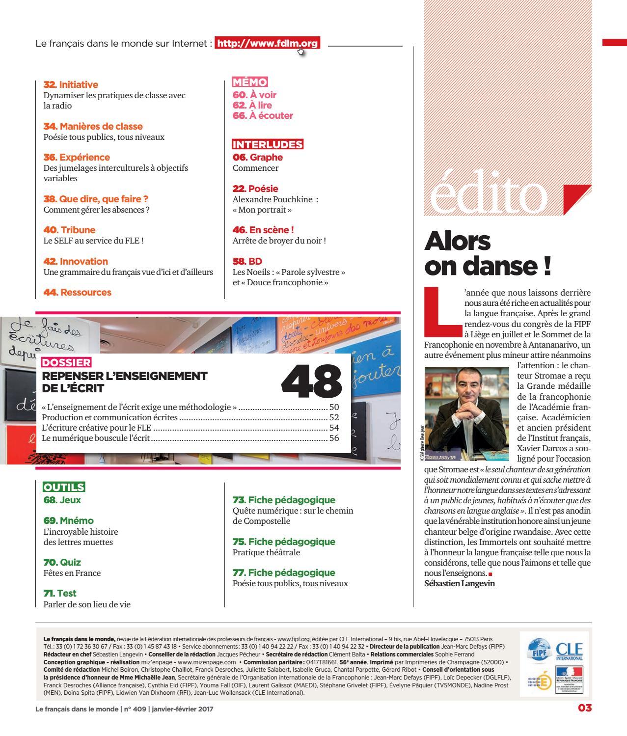 Le Français Dans Le Monde N409 Extraits By Le Français
