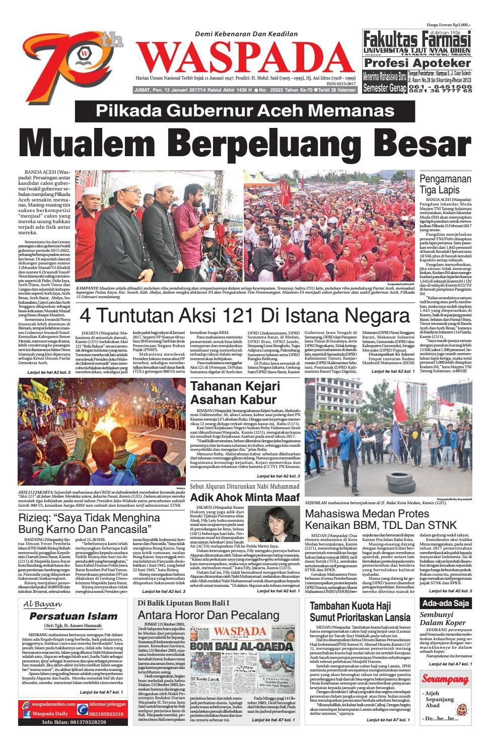 Waspada Jumat 13 Januari 2017 By Harian Waspada Issuu