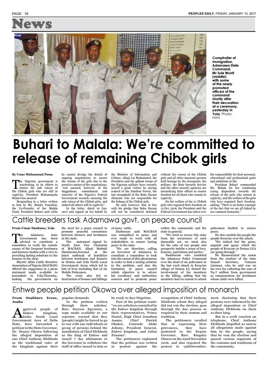 Friday, January 13, 2017 Edition by Peoples Media Limited - issuu