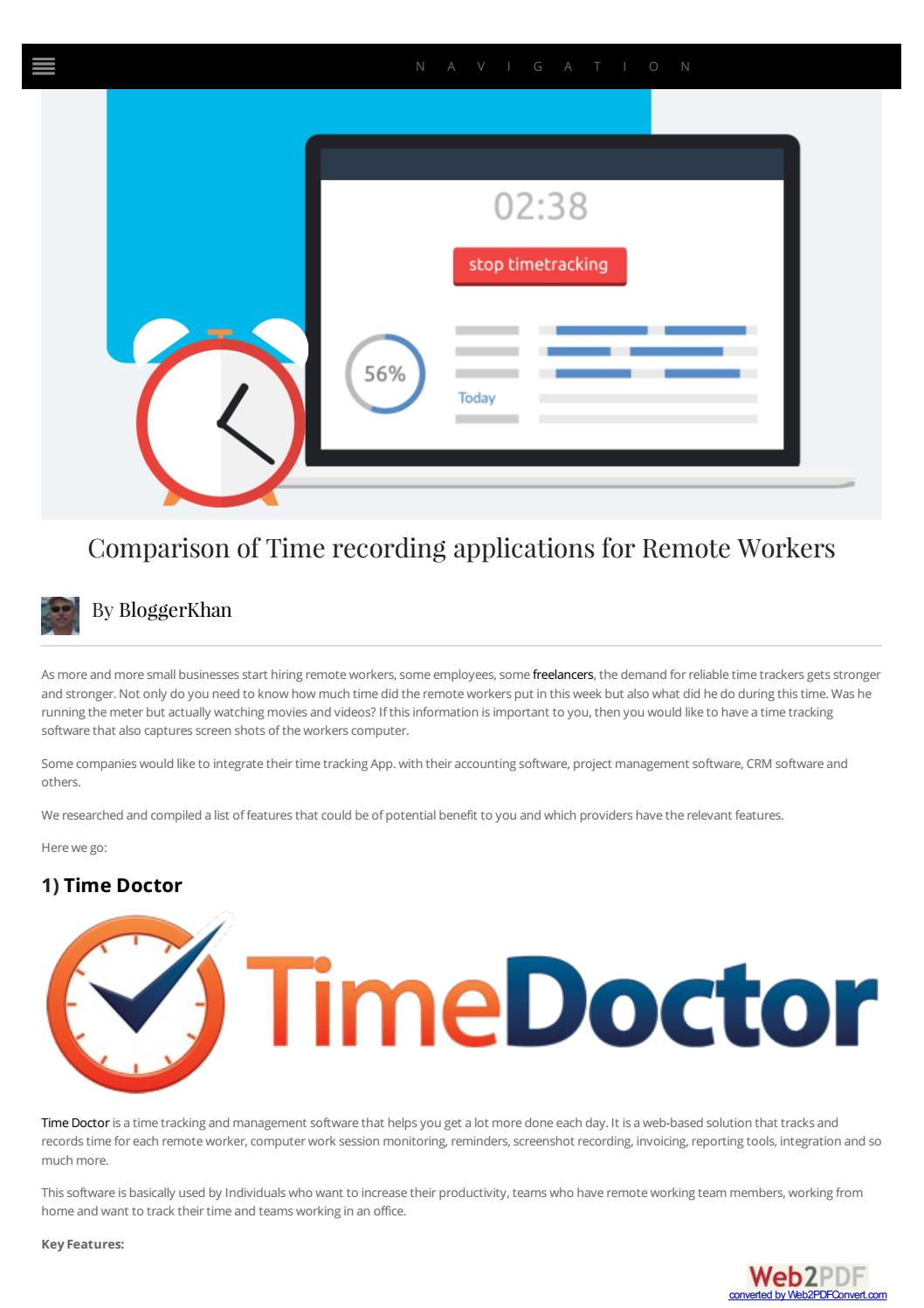 Comparison of time recording applications by Khan Babar - issuu