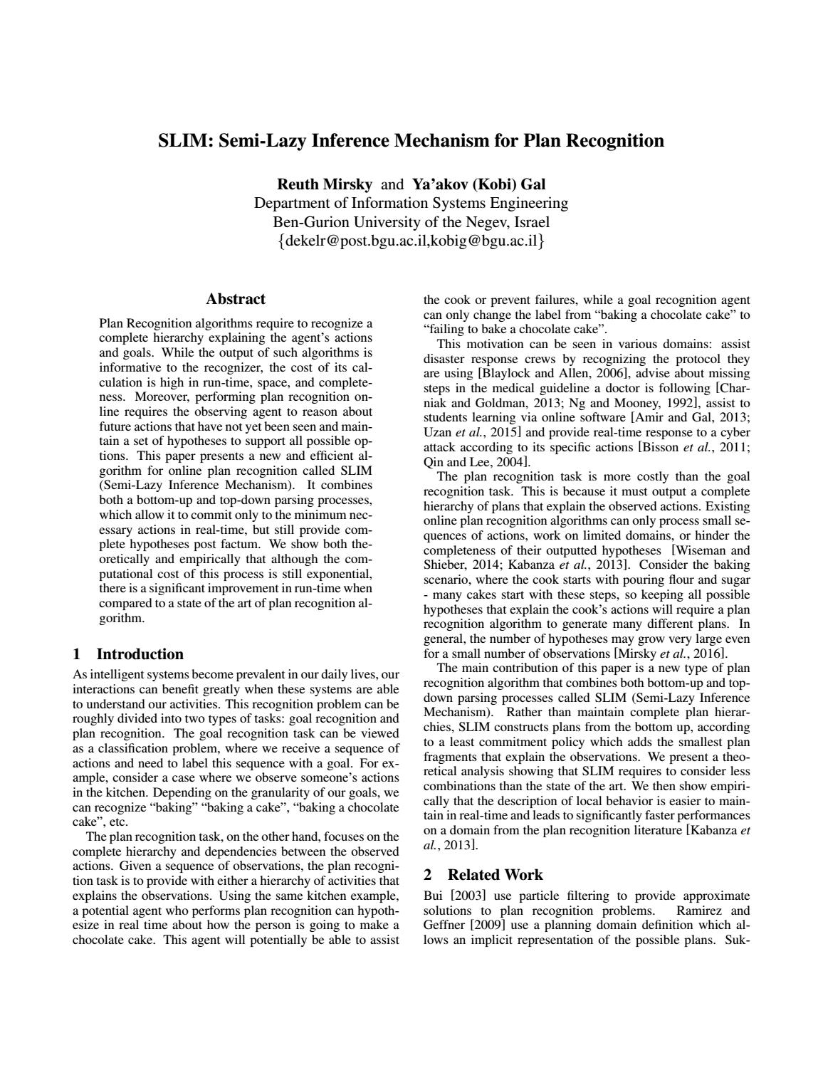 SLIM: Semi-Lazy Inference Mechanism for Plan Recognition by