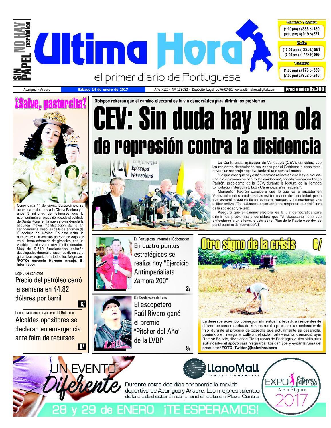 Edición 14 01 2017 by Ultima Hora - El primer diario de Portuguesa ...