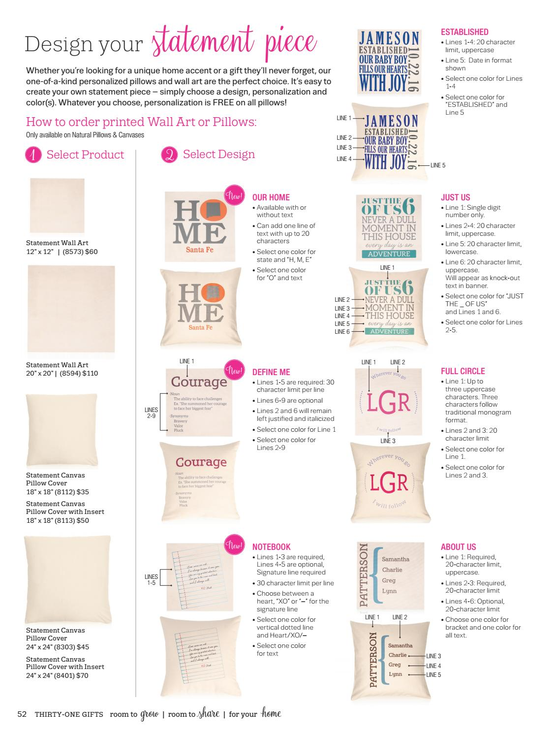 Pillow personalization guide spring summer 2017 us by Thirty One ...