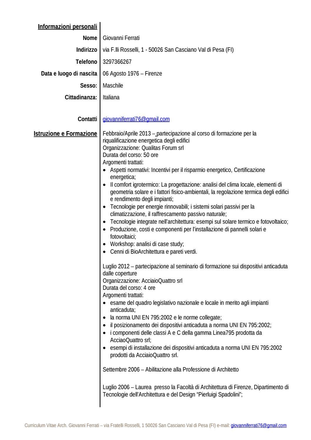 Curriculum Vitae Formato Europeo Esteso By Giovanni Issuu