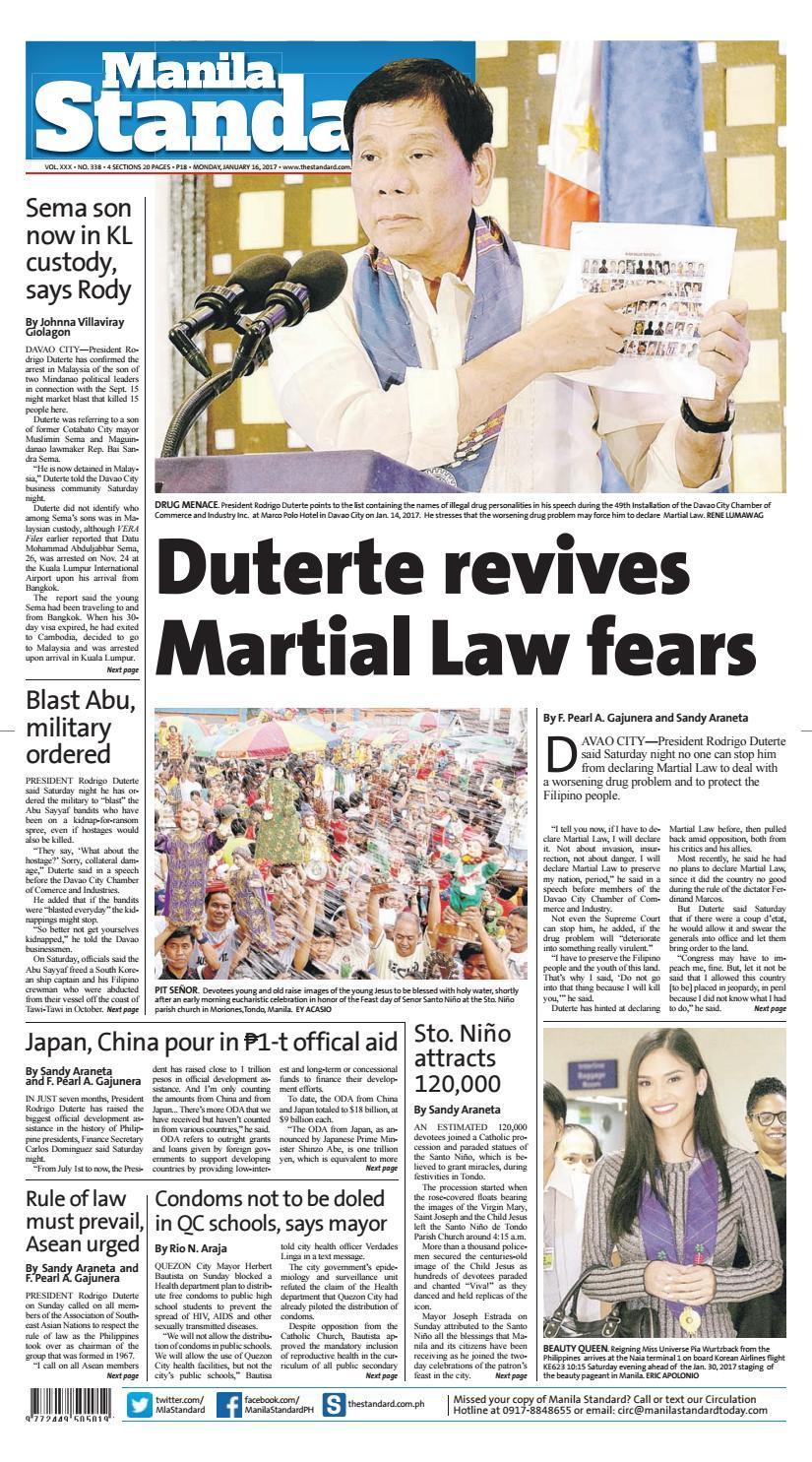 Manila Standard - 2017 January 16 - Monday by Manila