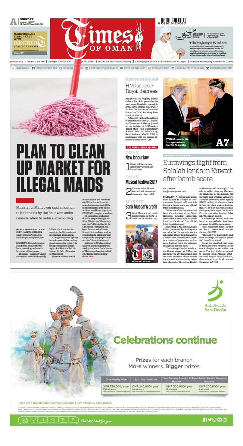 Times of Oman - January 16, 2017 by Muscat Media Group - issuu