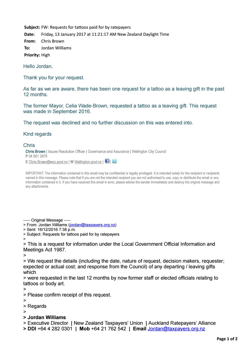 email from the wellington city council regarding oral request  email from the wellington city council regarding oral request for a tattoo by taxpayersunion issuu