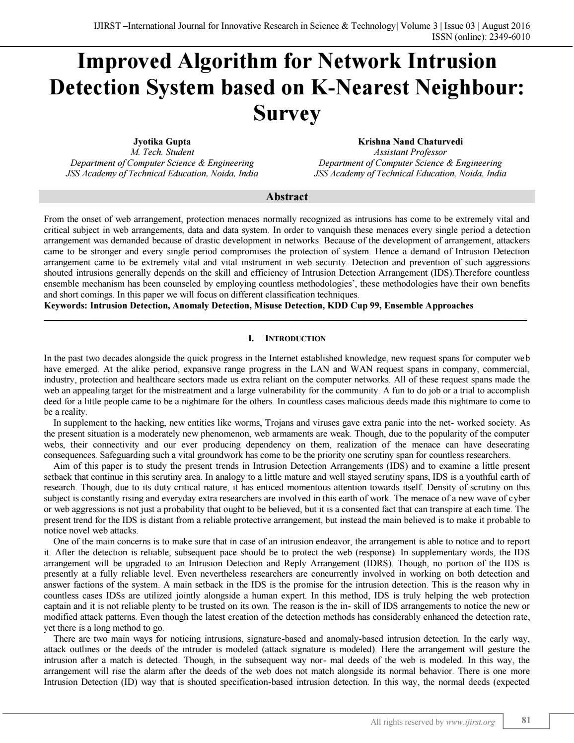 Improved Algorithm for Network Intrusion Detection System