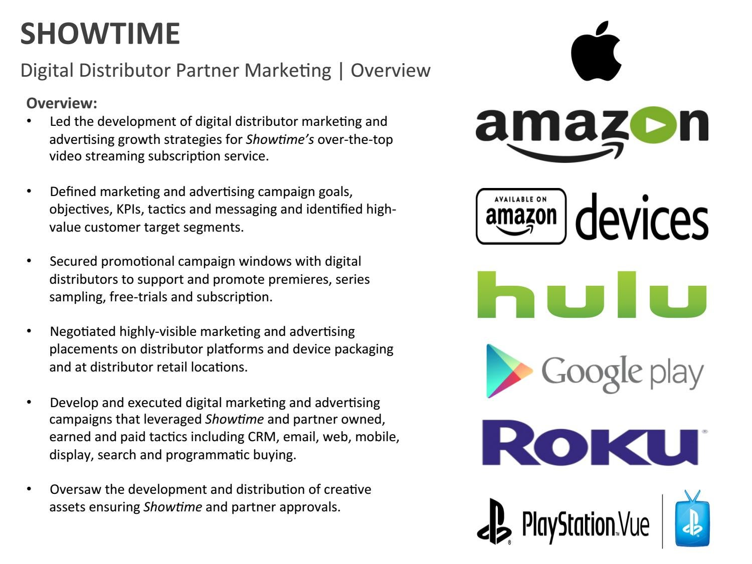 Showtime digital distributor marketing campaigns by allyson