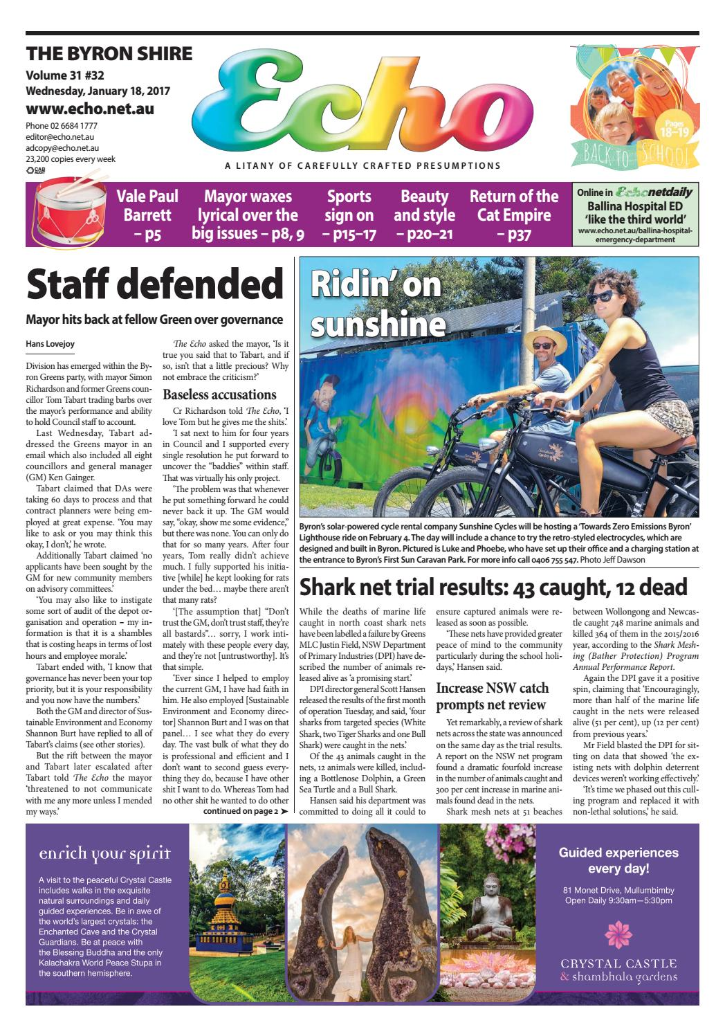 05462135182 Byron Shire Echo – Issue 31.32 – 18 01 2017 by Echo Publications - issuu