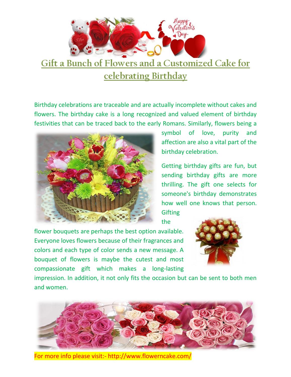 Surprising Gift A Bunch Of Flowers And A Customized Cake For Celebrating Birthday Cards Printable Opercafe Filternl