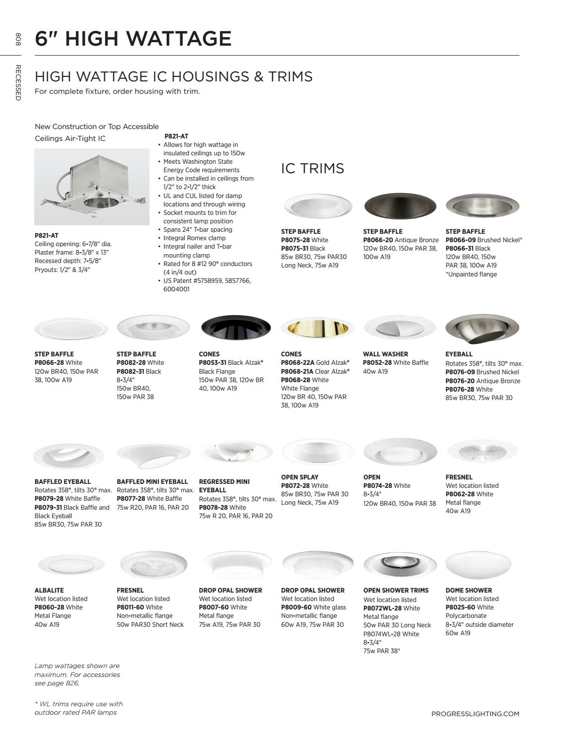 "PROGRESS LIGHTING P8082-31 Recessed 6/"" Step Baffle Splay Trim Black"