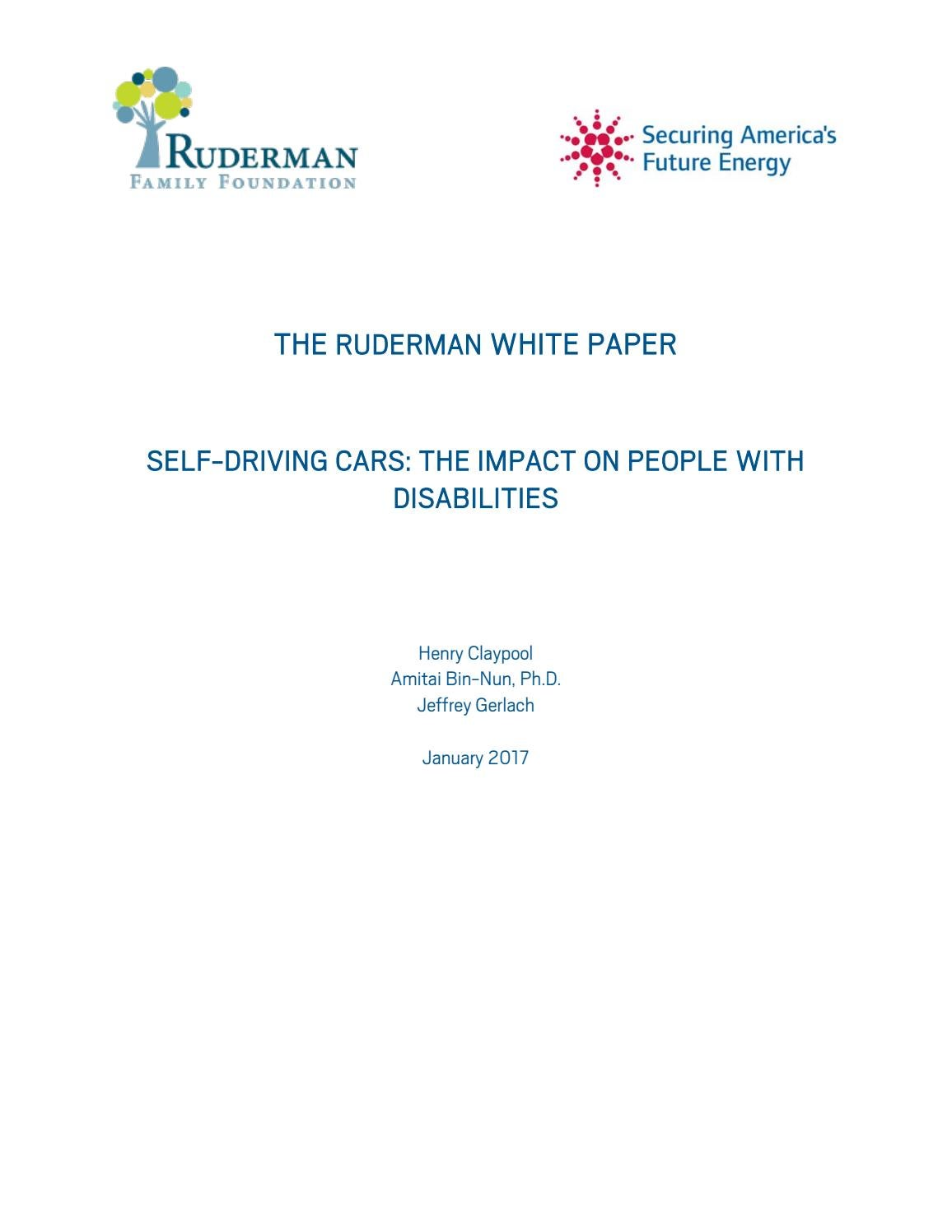 Ruderman White Paper - Self-Driving Cars: The Impact on People with  Disabilities by Ruderman Family Foundation - issuu