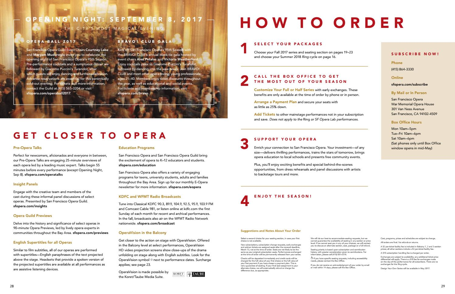 San Francisco Opera 2017–18 Season Brochure by San Francisco