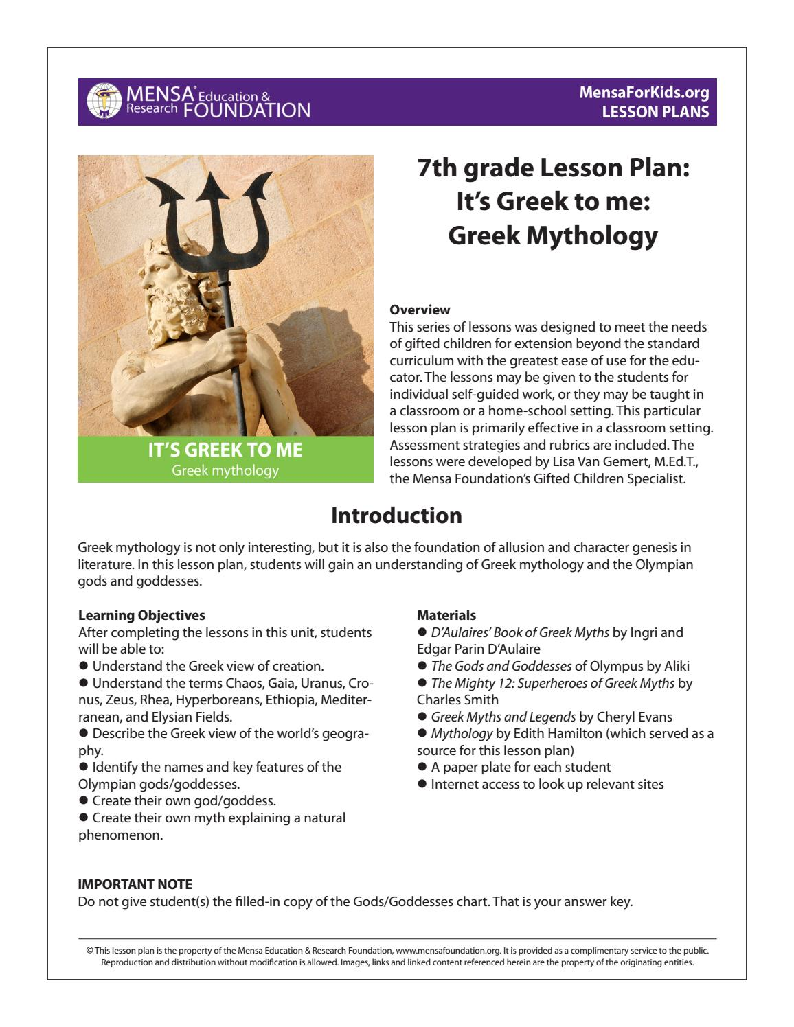 lesson greekmythology by elizabeth zionder issuu