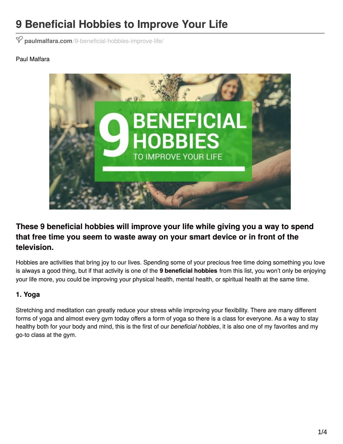 9 Beneficial Hobbies To Improve Your Life By Paul Malfara Issuu