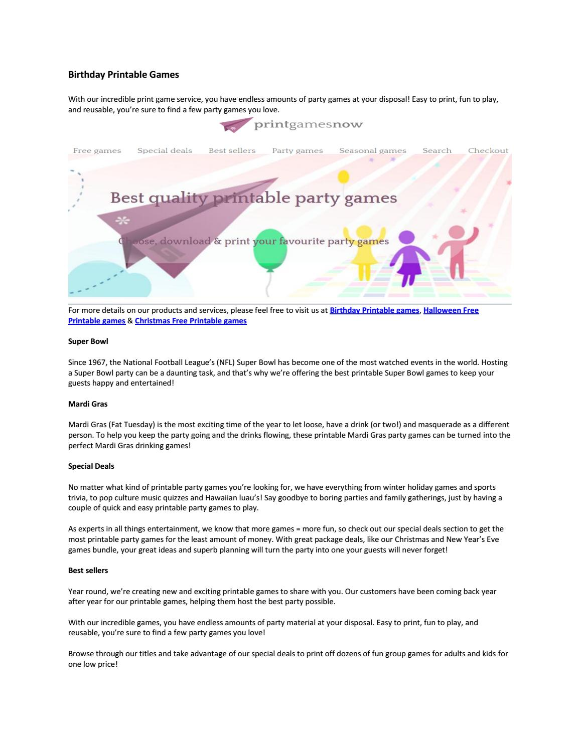 picture relating to Mardi Gras Trivia Quiz Printable titled Birthday printable video games through printgamesnow - issuu