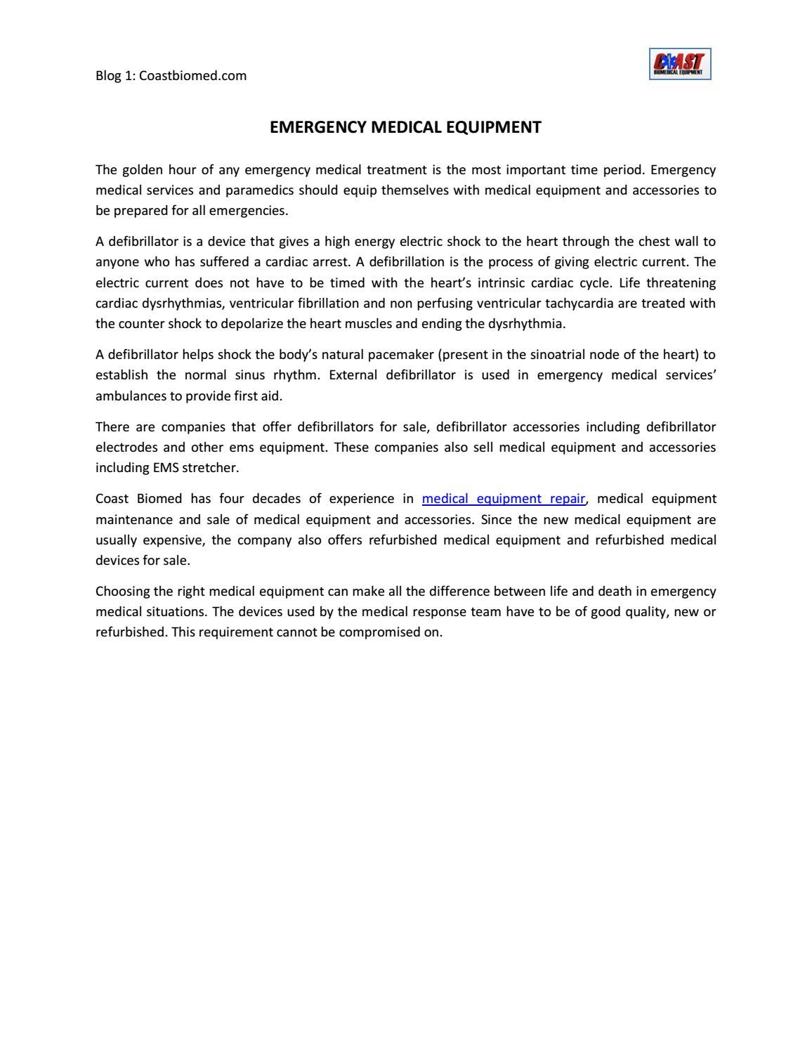 Emergency Medical Equipment by coastbiomed - issuu