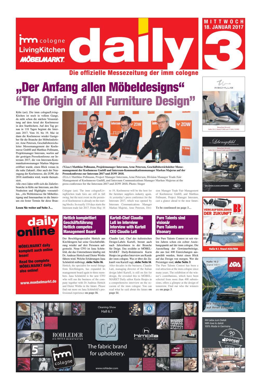 MÖBELMARKT Daily zur imm 2017 – Mittwoch 18.01.2017 by Verlag ...