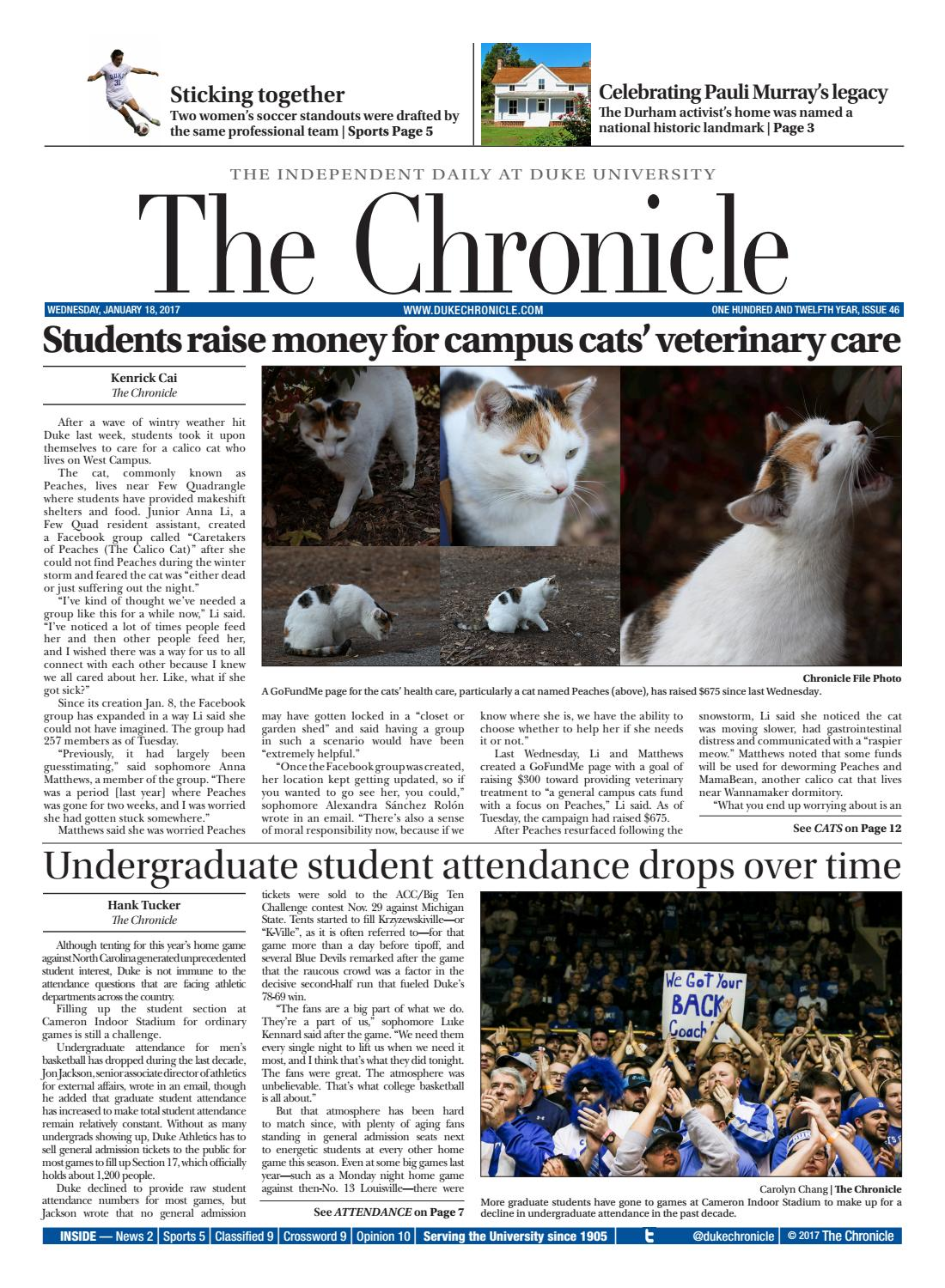 January 18, 2017 by Duke Chronicle - issuu