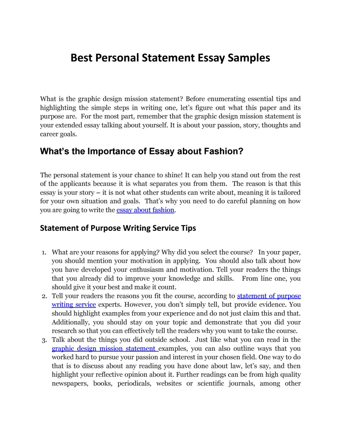 Fashion Design Admission Essay