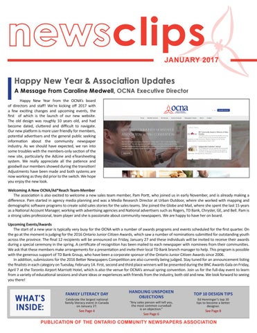 Newsclips January 2017 By Ontario Community Newspapers Association