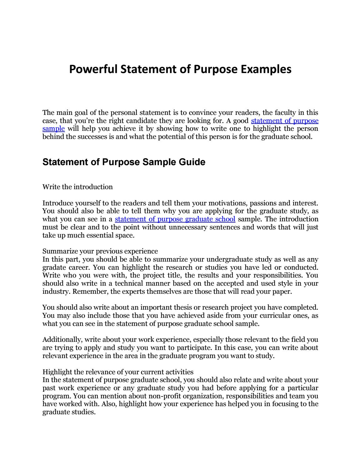 Statement of purpose sample your complete guide to an for How to write a statement of work template