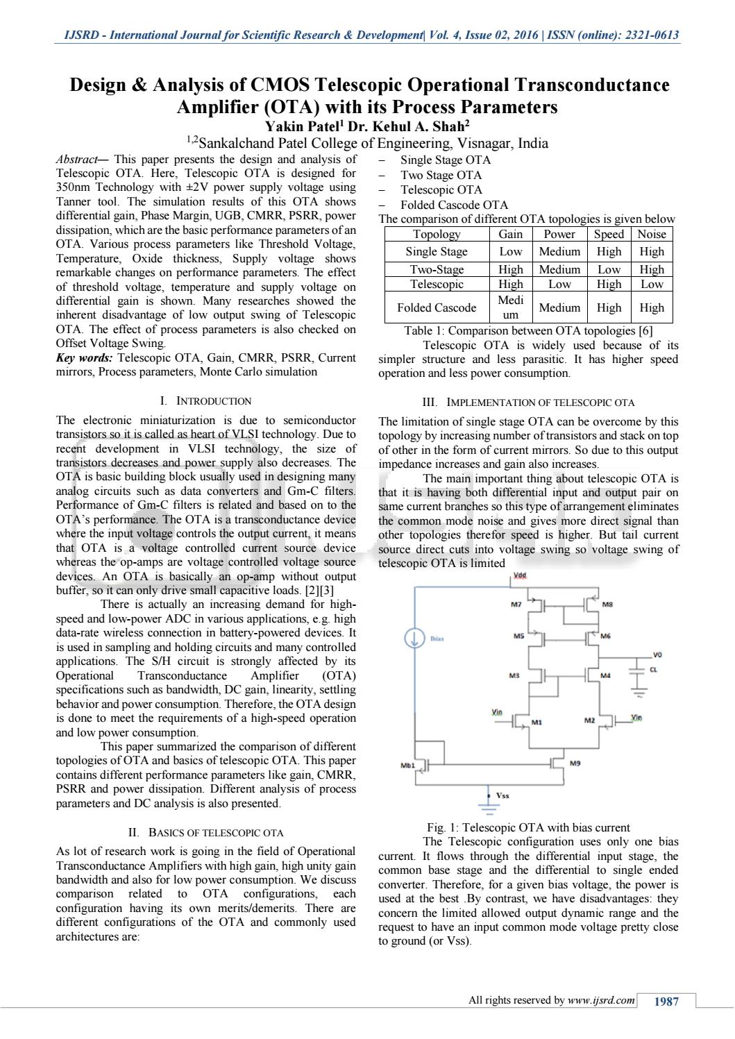Design Analysis Of Cmos Telescopic Operational Transconductance Op Amp Voltage Offset Problem Electrical Engineering Stack Amplifier Ota With Its Process P By International Journal For Scientific Research And