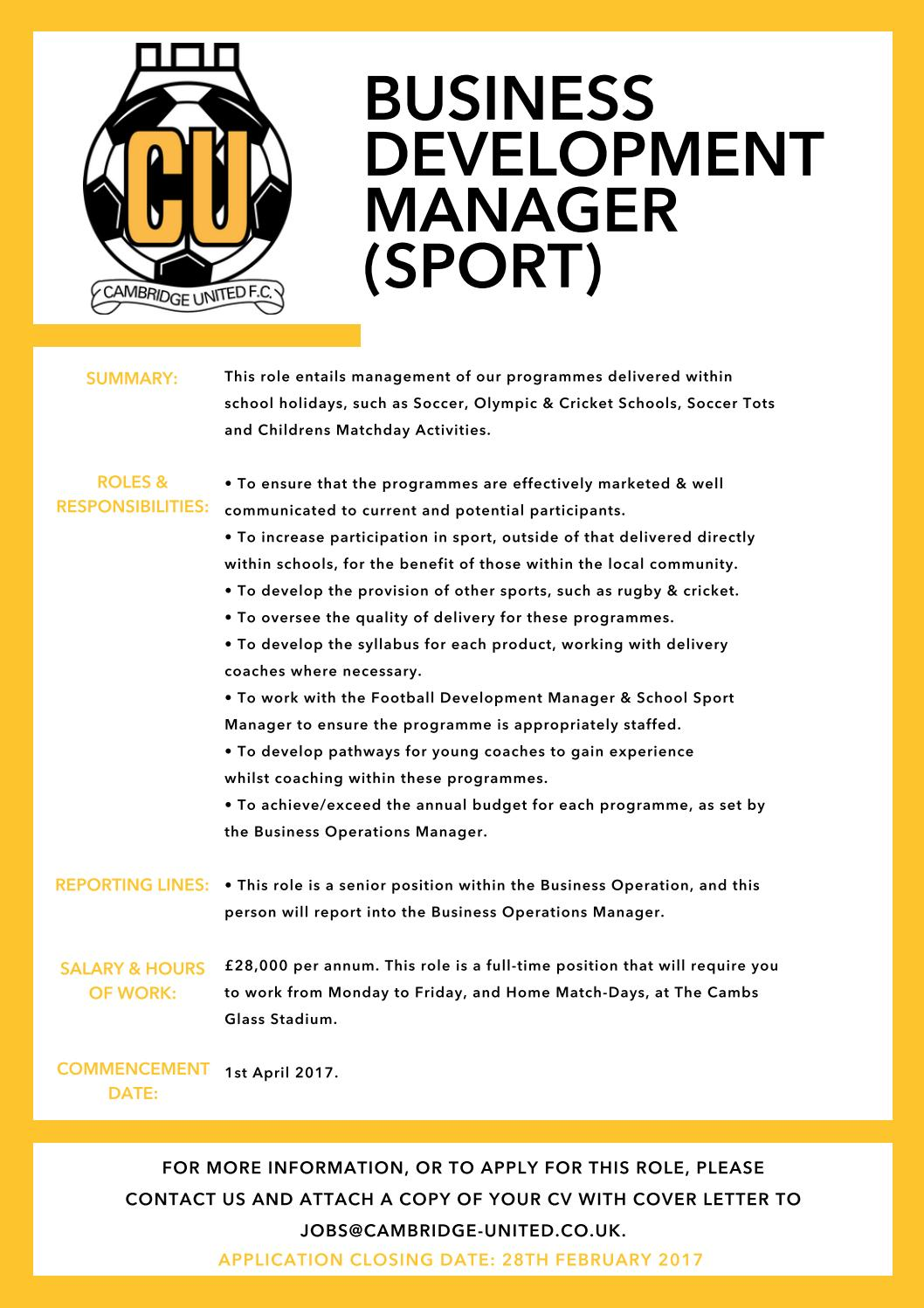 Business Development Manager Sport By Cambridge United Football Club Issuu