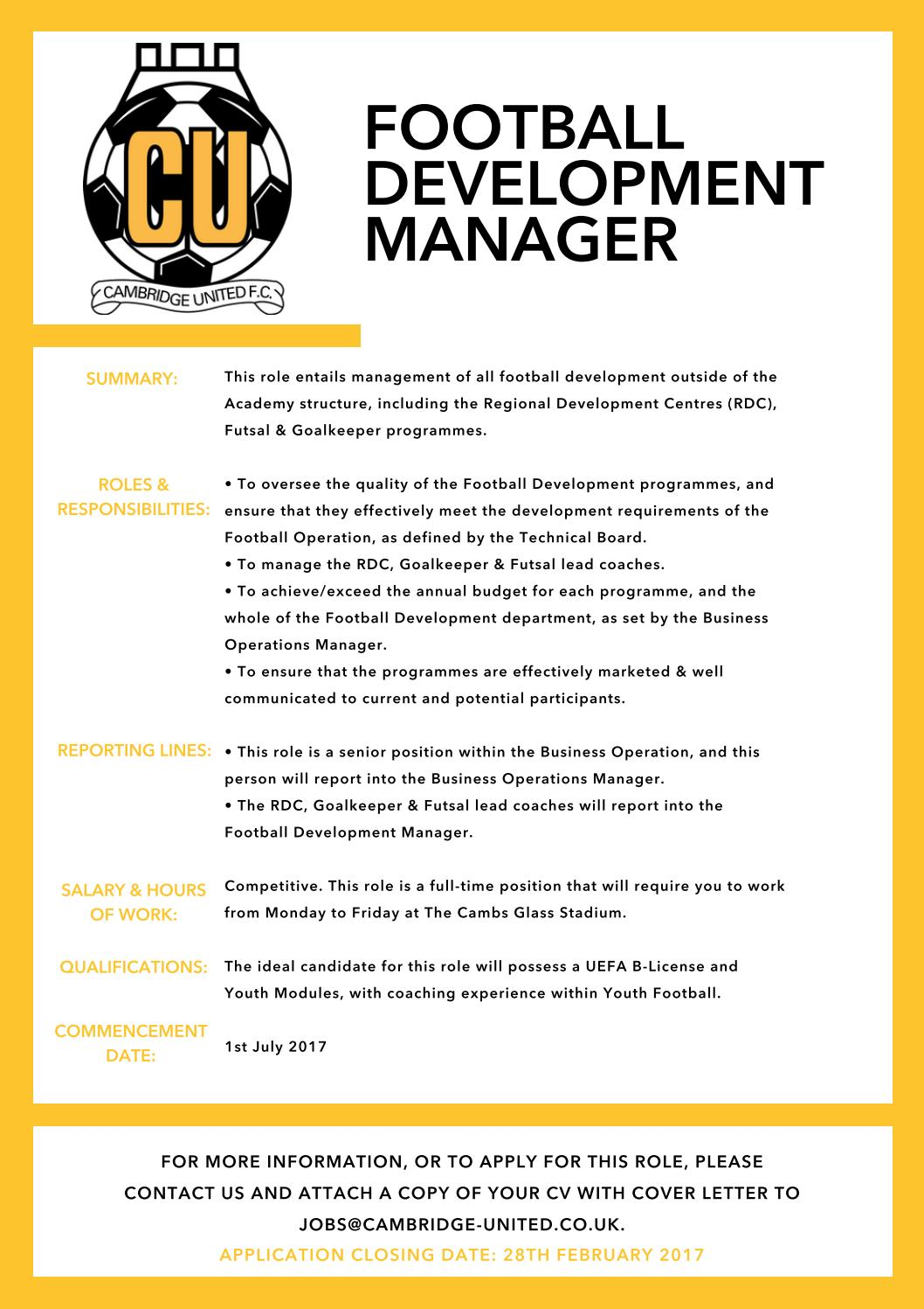 Football Development Manager by Cambridge United Football