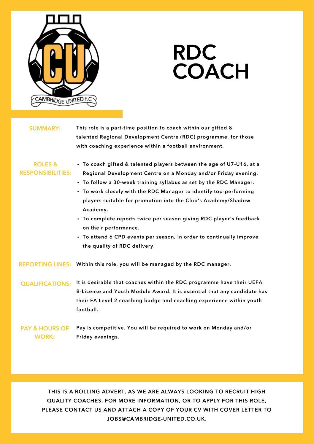 RDC Coach by Cambridge United Football Club - issuu