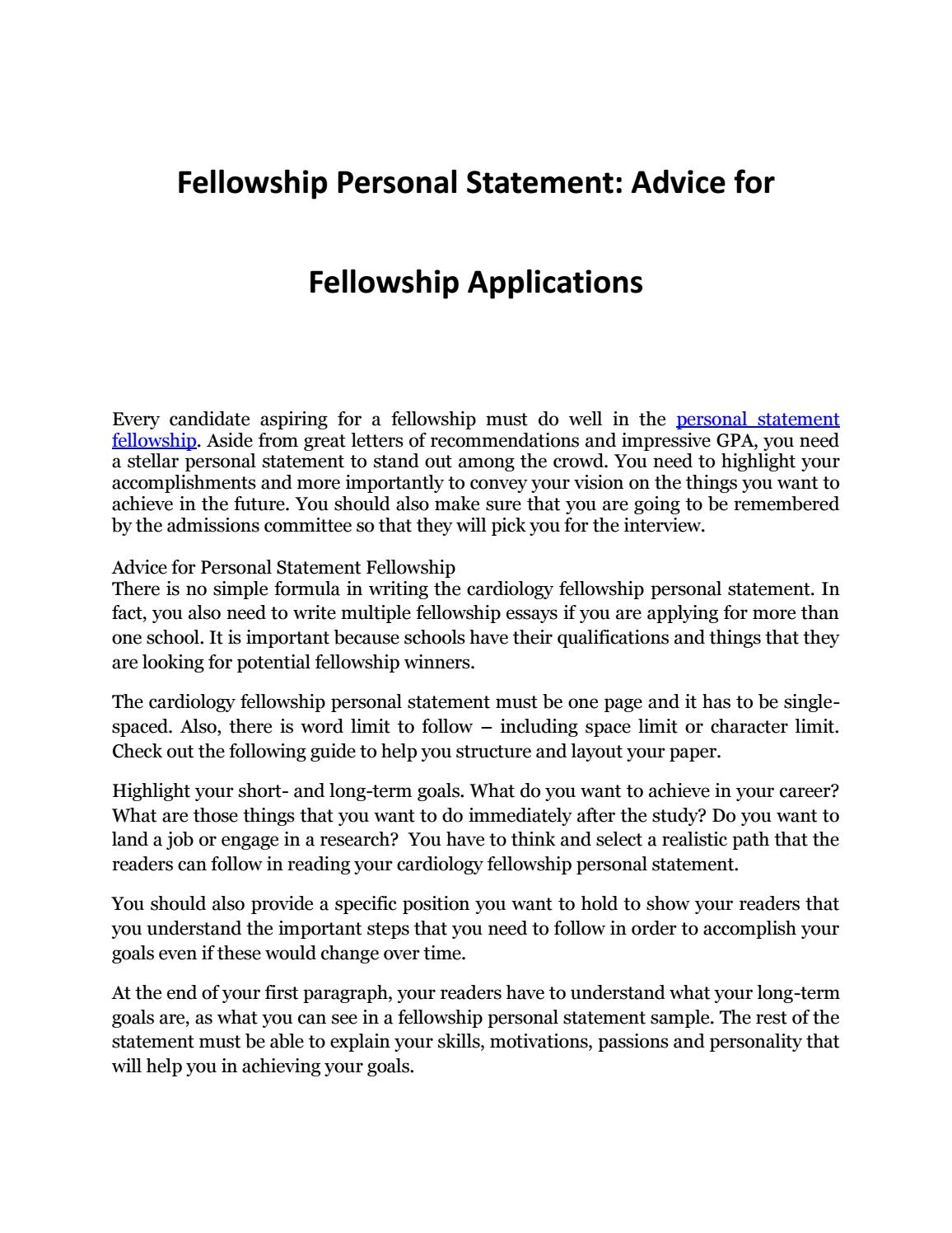 Your Complete Guide to Personal Statement Fellowship by