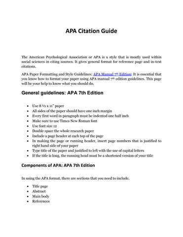 Complete Guide To Apa Format Example To Remember By Apaeditor  Issuu
