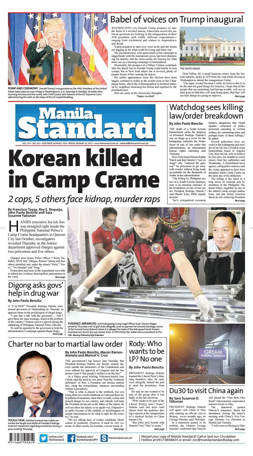 Manila Standard - 2017 January 20 - Friday by Manila Standard - issuu