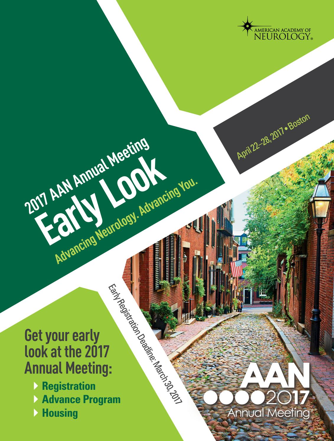 2017 Annual Meeting Early Look Program by American Academy of Neurology -  issuu