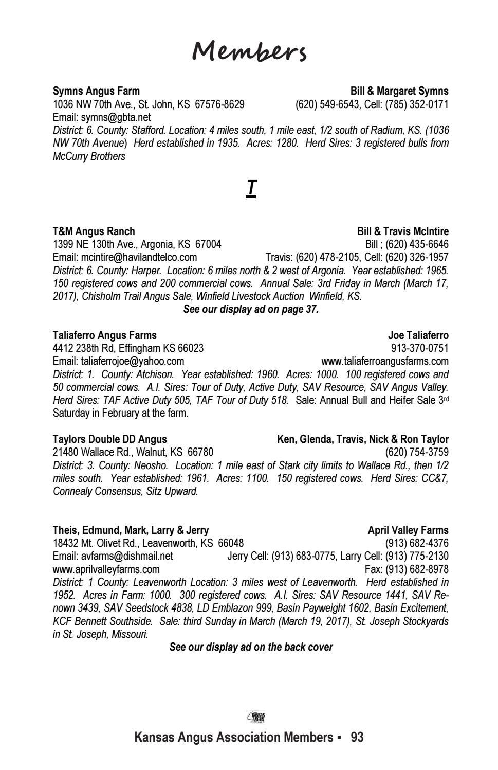 Kansas neosho county stark - Kansas Angus Association 2017 Membership Directory By Livestockdirect Issuu