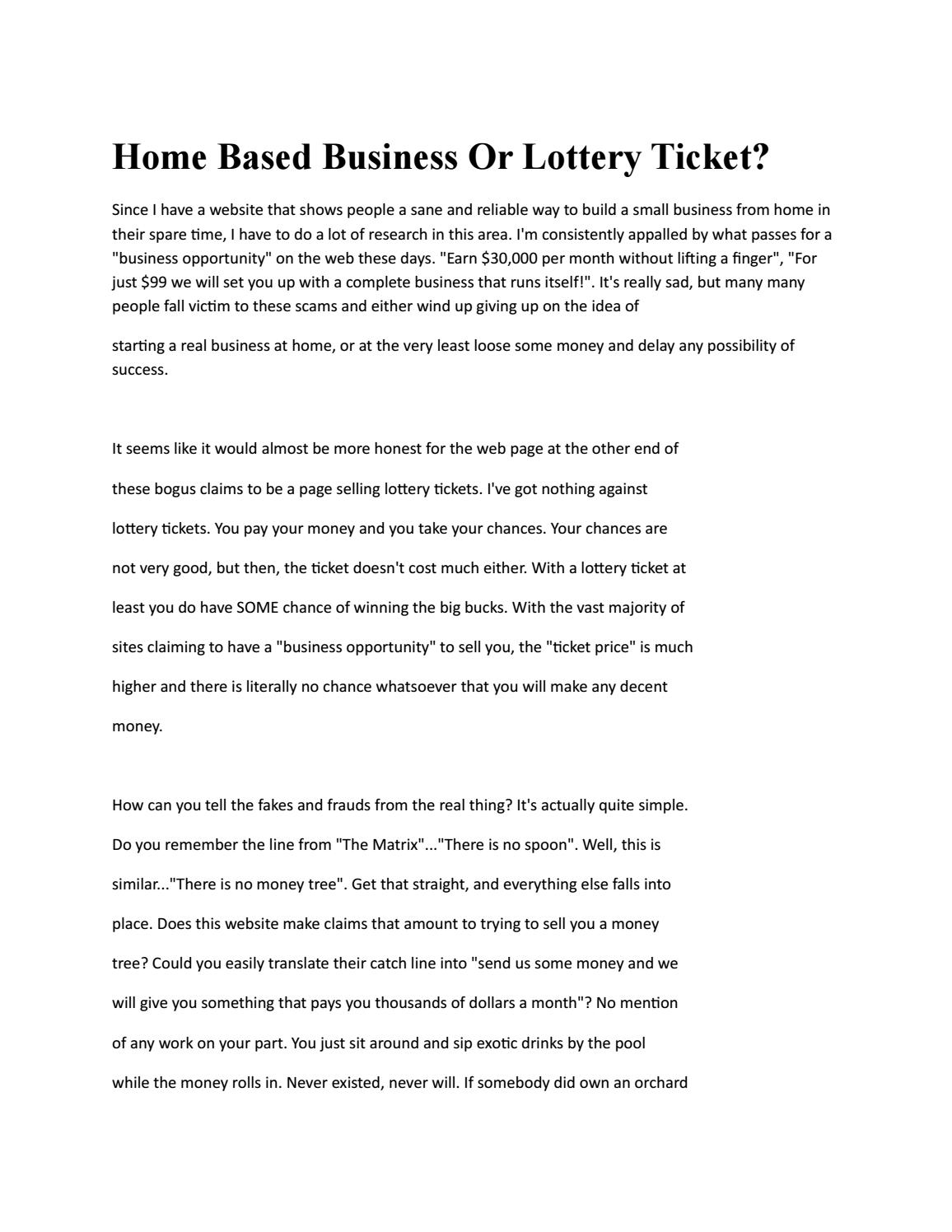 Home based business or lottery ticket by Shanna Phillips - issuu