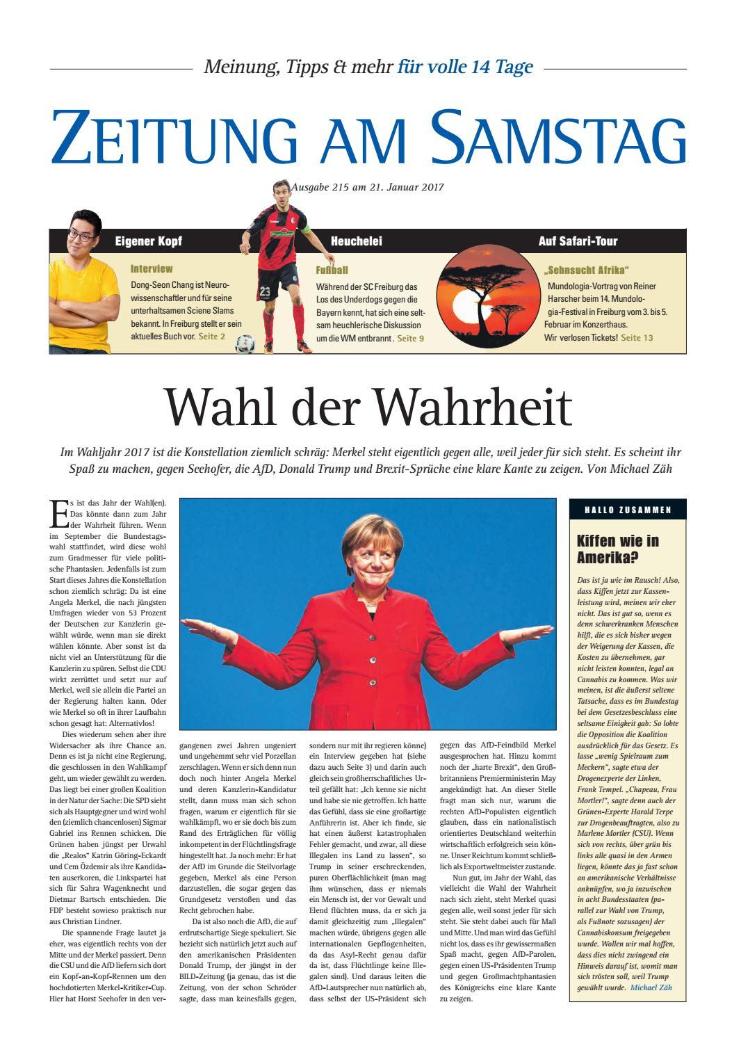 215. Ausgabe, ET 21.01.2017 by ZEITUNG AM SAMSTAG Verlags GmbH - issuu
