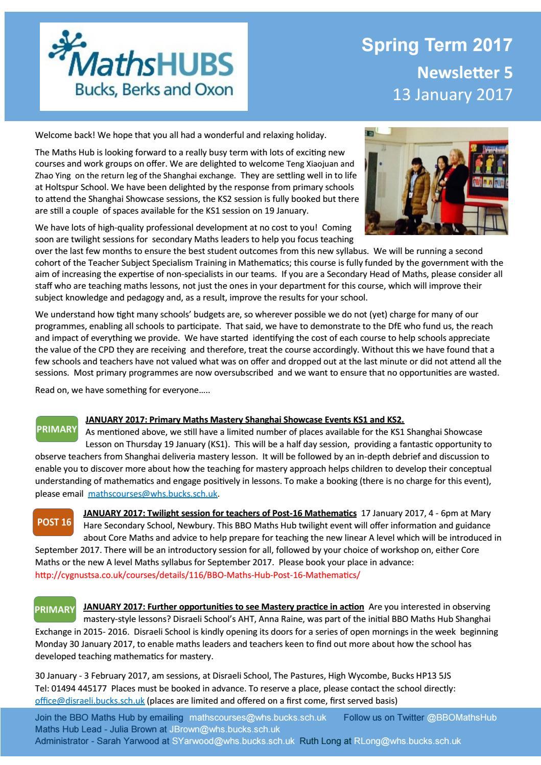 BBO Maths Hub Newsletter 5 Jan 17 by Wycombe High School - issuu