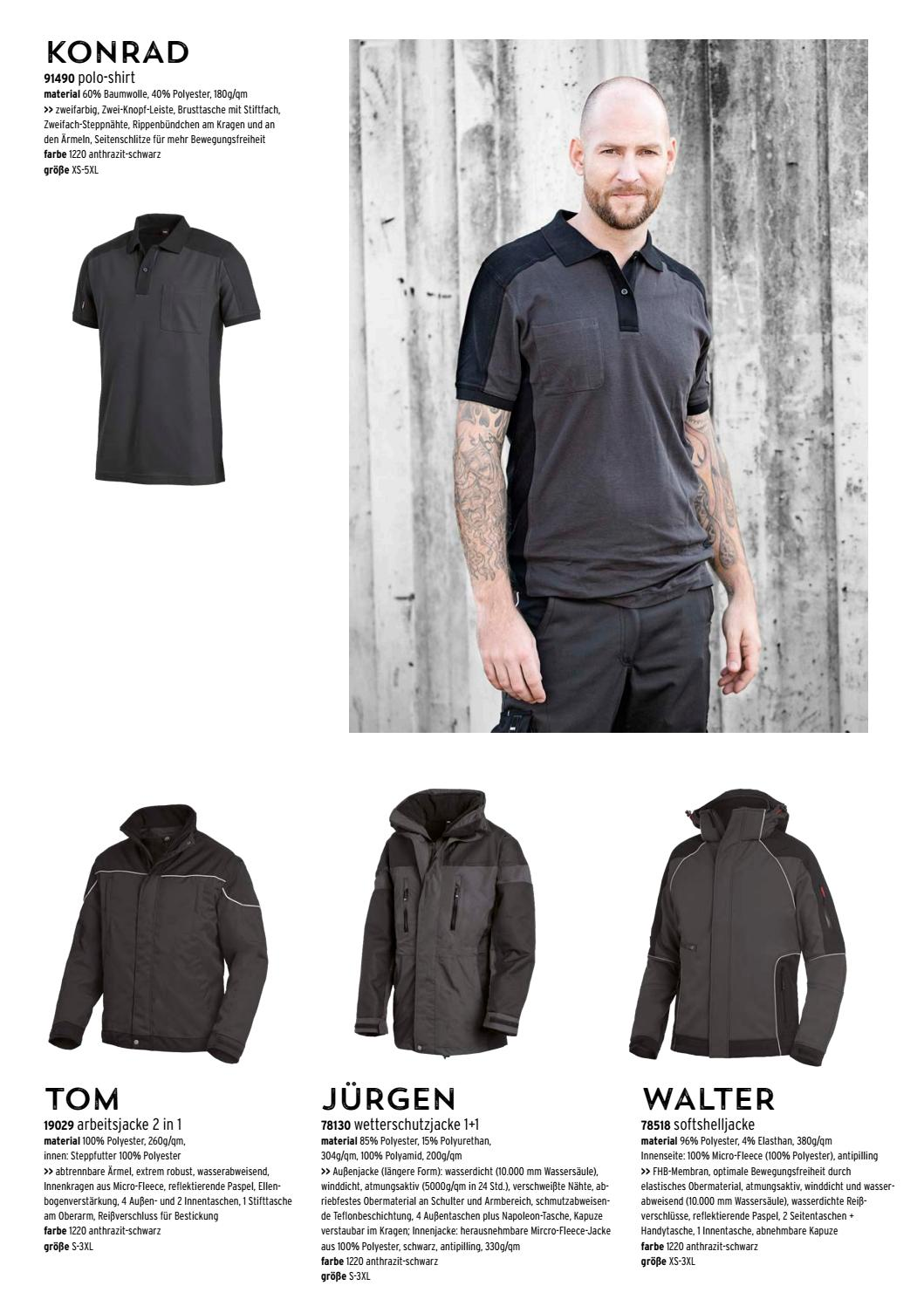 FHB Polo-Shirt  KONRAD 91490 1220-anthrazit-schwarz
