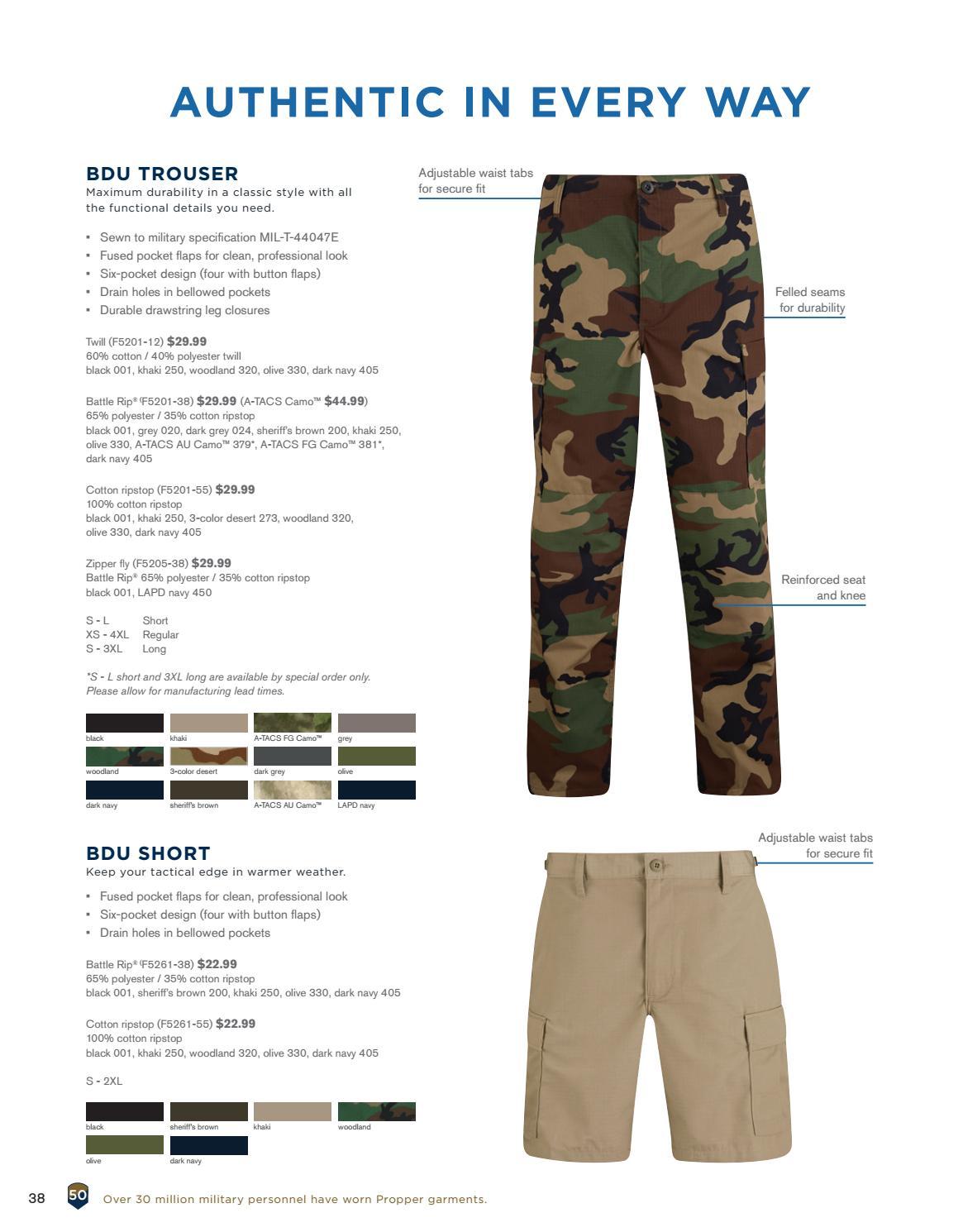 PROPPER F5201 BDU Battle Rip Trouser Button Fly Khaki L Short